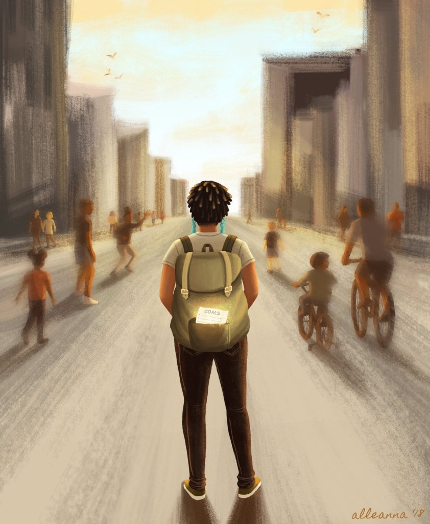 painting of young Black student heading down road
